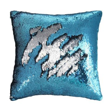 """16""""x16"""" with INSERT Mermaid Flip Sequin Pillow that Changes Color Reversible Pillow with Sequins Perfect Color Changing Throw Pillow Square for Home Decor Great Gift for all Aqua Silver"""