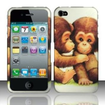 BABY MONKEYS Hard Plastic Design Matte Case for Apple iPhone 4 / 4S [In Twisted Tech Retail Packaging]