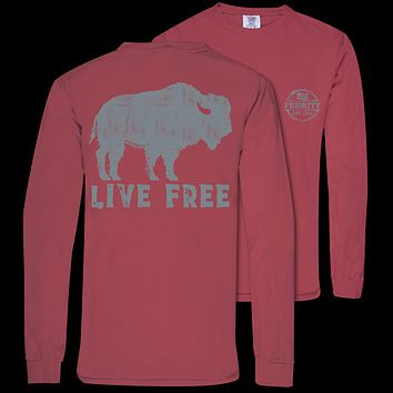 Couture Priority Live Free Buffalo Comfort Colors Unisex Long Sleeve T-Shirt