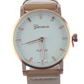 Geneva Numberless Leather Band Fashion Watch