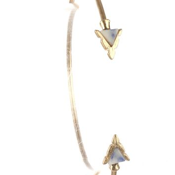 Blue Triangular Natural Stone Arrowhead Wire Cuff Bracelet