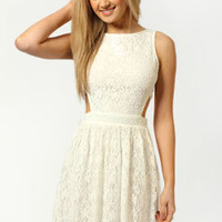 Daisy Cut Out Side Lace Skater Dress