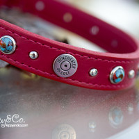 Red 45 Winchester Leather Dog Collar