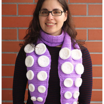 Finished Item: Handmade crochet scarf lilac octopus Ready to ship