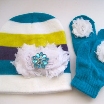 Knit Baby Beanie Mitten Set Baby Winter Hat with White Chiffon Flowers and Matching Accent