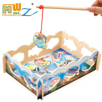 Magnetic Fishing Wooden Kids Toys Educational Puzzle For Early Childhood Educational 3 Style