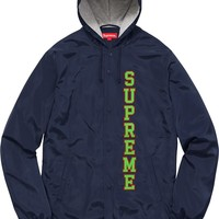 Supreme 17ss Vertical Logo Hooded Coaches Jacket S-XL - Navy