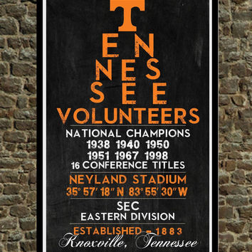 Tennessee Volunteers - Eye Chart chalkboard print - sports, football, gift for fathers day, subway sign - Eyechart wall art