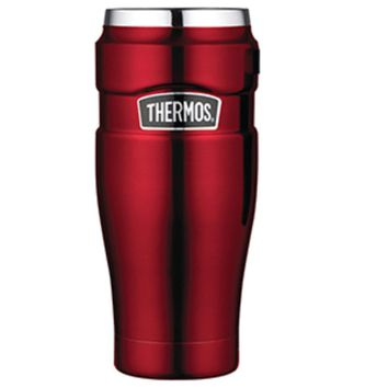 Thermos Stainless King™ Vacuum Insulated Travel Tumbler - 16 oz. - Stainless Steel-Cranberry