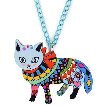Acrylic Cat Necklace Pendant Chain Choker New Cute Animal Charm Collar Bijoux Accessories Fashion Jewelry For Women