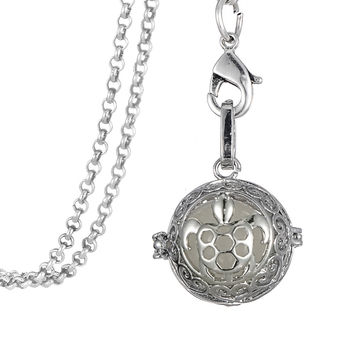 "32"" Chain Antique Silver Plated Sea Turtle Shape Essential Oil Diffuser Pendant Necklace Therapy Luminous Jewelry"