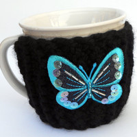 Black Knitted Cup Mug Cozy with Blue Butterfly