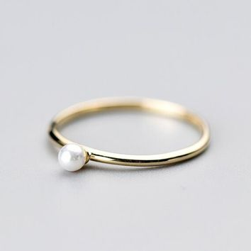 So Thin REAL.925 Sterling Silver fINE jEWELRY Golden Pearl Ring GTLJ1390