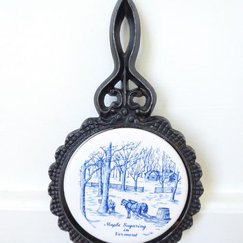 Vintage Maple Sugaring in Vermont souvenir tile and cast metal trivet