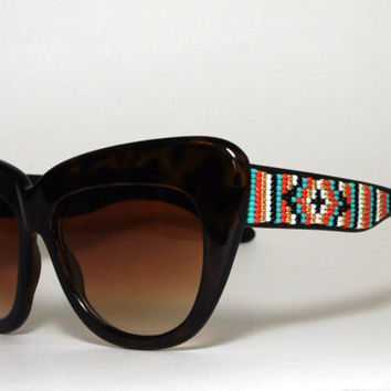 Beaded Sunglasses Extreme Cat Eye Coral