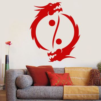 Vinyl Wall Decal Buddhism Yin Yang Symbol Asian Dragons Stickers (2290ig)