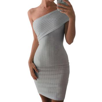 Gray 2016 Autumn Elegant Sweater Dresses One Off Shoulder Wrap High Waist Women Midi Dress Robe Sexy Club Knitted Bodycon Dress