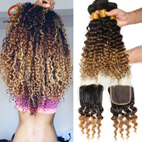 Ombre Brazilian Curly Virgin Hair With Closures