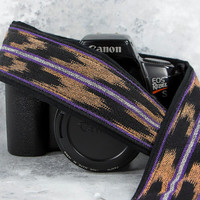 dSLR Camera Strap, Peach, Purple, Black, Mens or Womens, Ikat, Replaces Canon-Nikon Strap, Photographer gift, 216L w