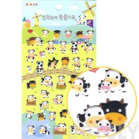 Classic Cartoon Cows Shaped Farm Animal Themed Puffy Sticker Seals | Stationery Supplies