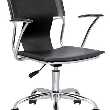 Chrome/Black Office Swivel Arm Chair with Pneumatic Gas Lift