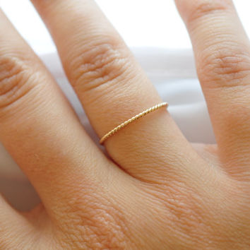 Rope Ring Stackers Braided Band Nautical Twisted Band Stackable Rings BFF Small Ring Thin Ring 14K Gold Filled Etsy Jewelry Stocking Stuffer