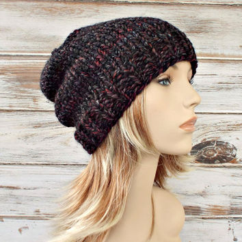 Knit Hat Womens Hat Mens Hat Slouchy Hat - Toque Beanie Hat - Blackstone Charcoal Grey Black Beanie - Grey Hat Womens Accessories Winter Hat