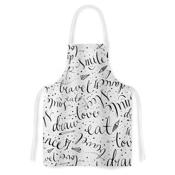 "MaJoBV ""Life Must-dos / Black"" White Artistic Apron"