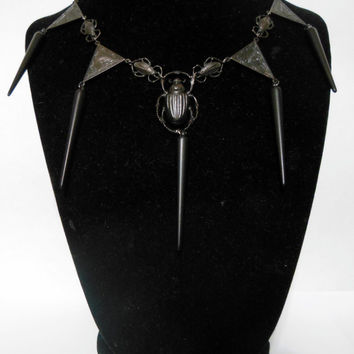 Black Gothic Egyptian Inspired Avant-garde Metal Scarab Choker Necklace