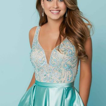 Tiffany Homecoming - 27169 Bead Embellished Pleated Cocktail Dress