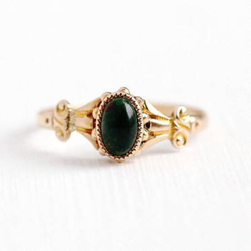 Antique Bloodstone Ring - 10k Rosy Yellow Gold Heliotrope Gem Fine Jewelry - Vintage Edwardian 1910s Dainty Size 5 3/4 Green & Red Cabochon