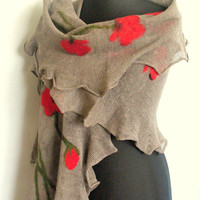 Linen Scarf Natural Gray Red Poppy Felted Wool