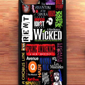 New Rare Broadway Musical Collage Art For iPhone 7 7+ Print On Hard Plastic Case