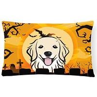 Halloween Golden Retriever Fabric Decorative Pillow BB1763PW1216
