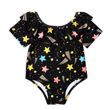 Short sleeve Baby Girl One Piece Printing Swimsuit Swimwear Bathing Suit Clothes baby girls clothes Drop ship