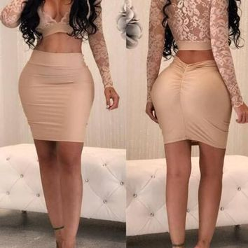 Beige Floral Lace Deep V-neck Long Sleeve Two Piece Bodycon Party Mini Dress