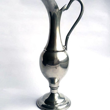 Vintage pewter vase with handle - Italian pewter pitcher - Elegant pewter home decor - Display piece
