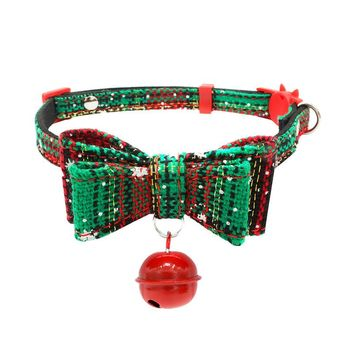 New Christmas Dog Safety Buckle Collar Bow Tie Adjustable Printed Collars With Bell Dog Puppy Pet Bowknot Collar Cat Necklace #T