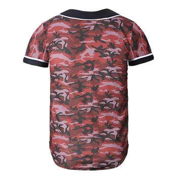 Army Red tones camouflage men/women t-shirt 3d short sleeve v-neck lovely  summer tops tees t shirt