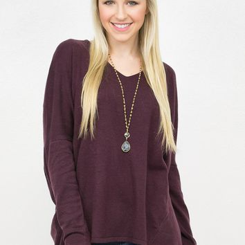 V- Neck Dolman Knit Sweater Top/ DarkMagenta
