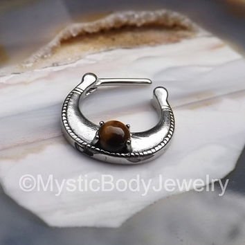 Septum Nose Ring 16g Clicker Tiger's Eye Gemstone Hinged Piercings Semi-Precious Stone Helix Daith Piercing Rings Clickers Body Jewelry Ball