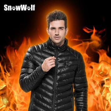 SNOWWOLF Heated Jacket Winter Outdoor Men Windbreaker Male Windproof Black Thermal Coat For Camping Fishing Hunting Hiking