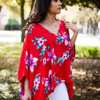 Paris Tunic- Red Foral