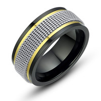 Stainless Steel Three Tone Mesh Ring