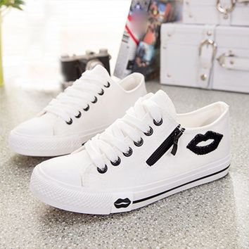 Favolook Womens Casual Shoes Flats Breathable Lip Zipper Fashion Classic Outdoor Shoes Canvas Shoes for Women Girls Students