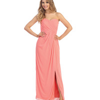 Coral Ruched Chiffon Strapless Sweetheart Gown 2015 Homecoming Dresses