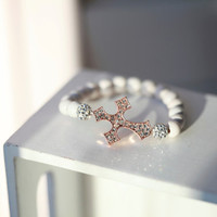 Rose Gold Crystal Cross  - White and Rose Gold Cross Bracelet - Sideways cross Bracelet