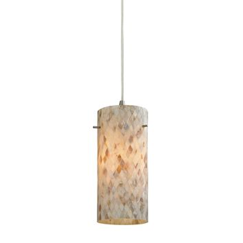 10442/1 Capri 1 Light Pendant In Satin Nickel And Capiz Shell - Free Shipping!