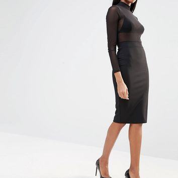 Missguided Mesh Top Pencil Dress