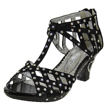 Kids Dress Sandals T-Strap Rhinestone Laser Cutou High Heel Shoes black
